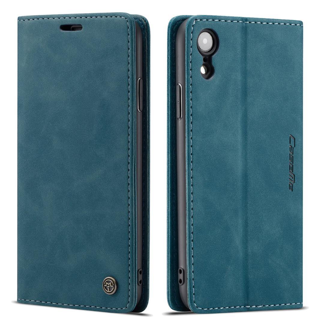 Husa slim piele, tip portofel, stand, inchidere magnetica, textura catifelata, iPhone XR - CaseMe, Albastru inchis