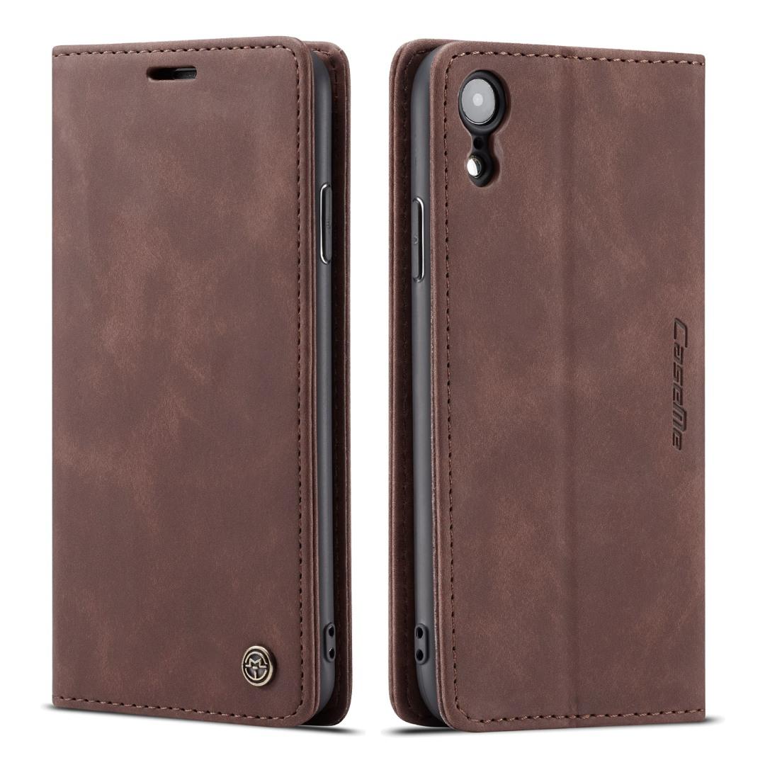 Husa slim piele, tip portofel, stand, inchidere magnetica, textura catifelata, iPhone XR - CaseMe, Maro coffee