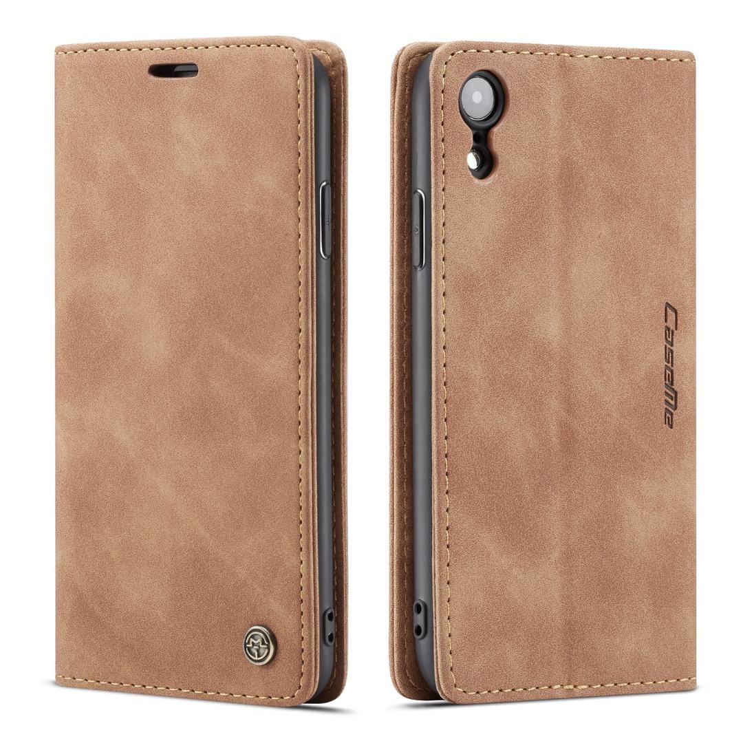Husa slim piele, tip portofel, stand, inchidere magnetica, textura catifelata, iPhone XR - CaseMe, Maro