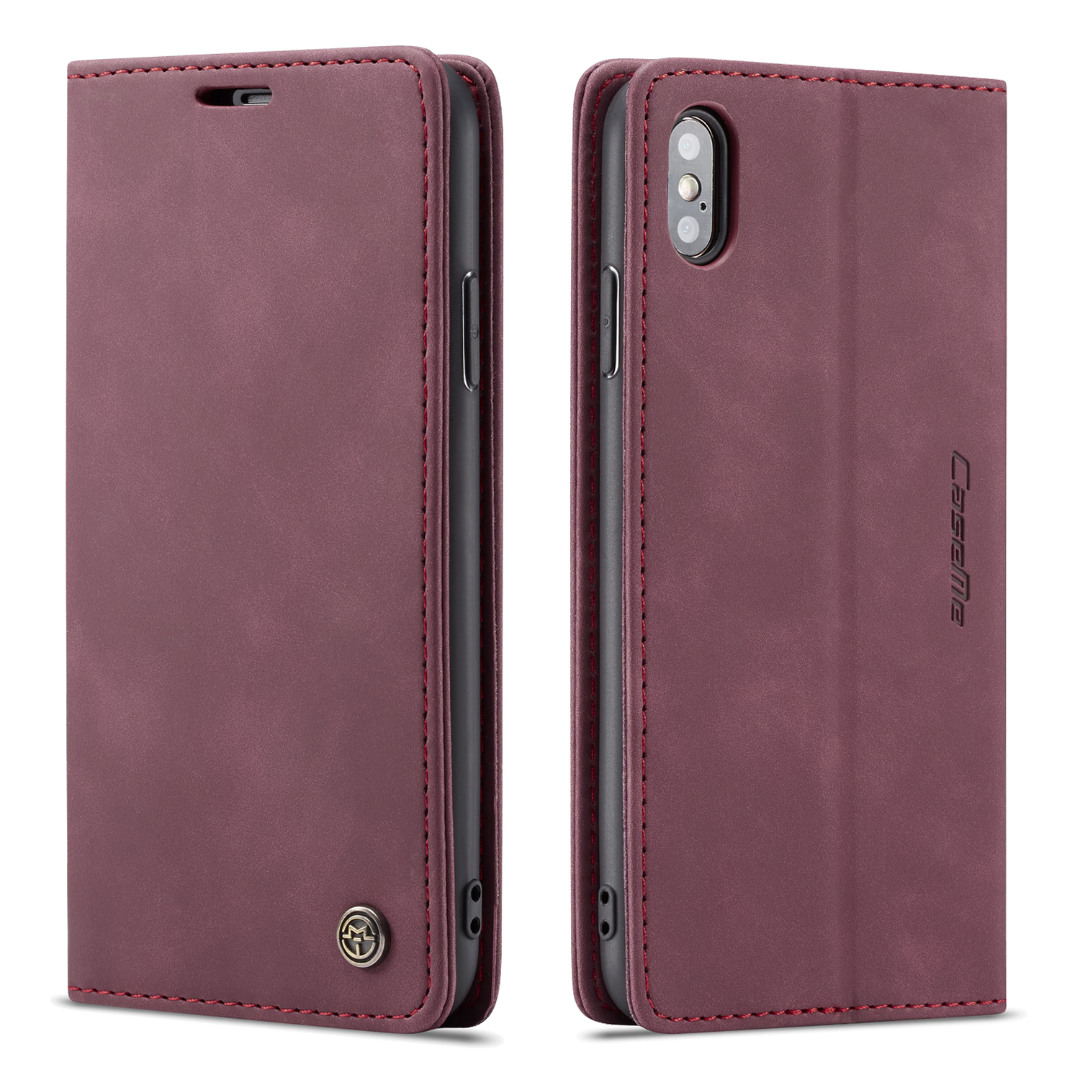 Husa slim piele, tip portofel, stand, inchidere magnetica, textura catifelata, iPhone XS Max - CaseMe, Visiniu