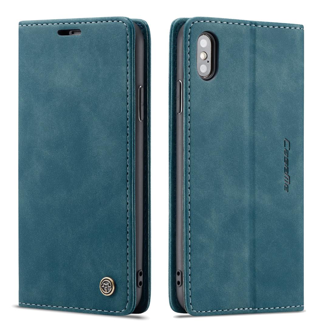 Husa slim piele, tip portofel, stand, inchidere magnetica, textura catifelata, iPhone XS Max - CaseMe, Albastru inchis
