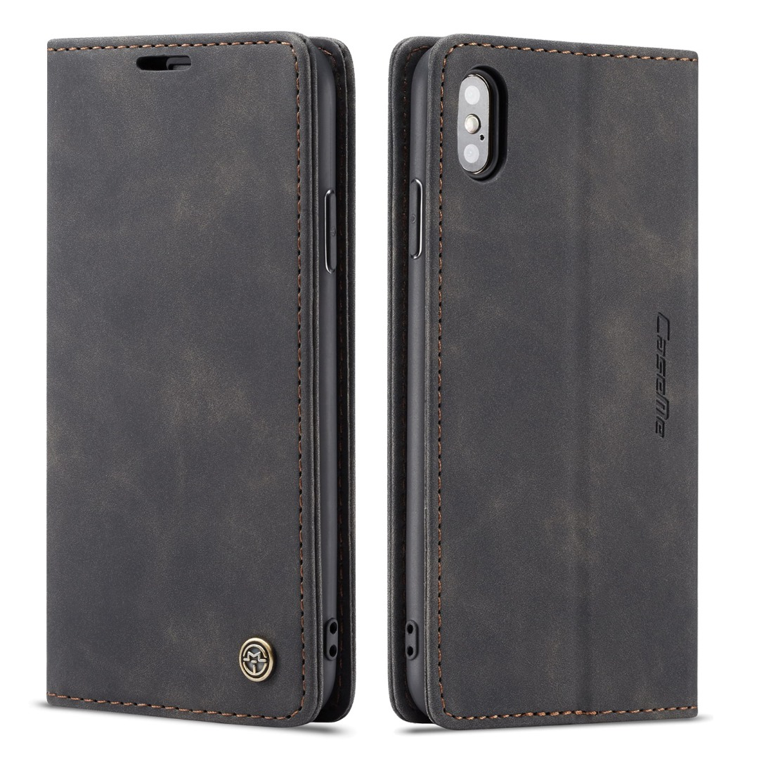 Husa slim piele, tip portofel, stand, inchidere magnetica, textura catifelata, iPhone XS Max - CaseMe, Negru
