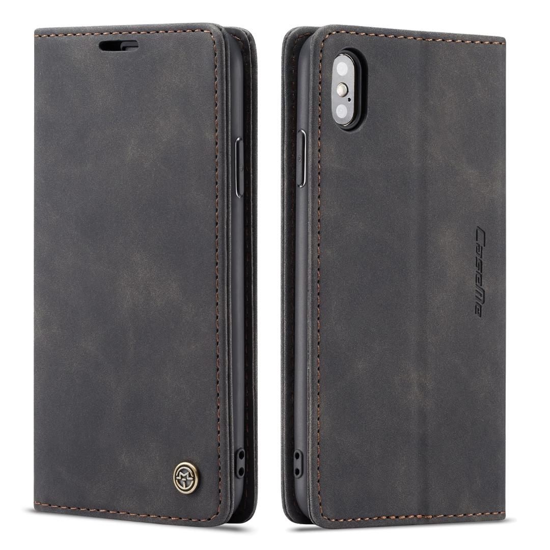 Husa slim piele, tip portofel, stand, inchidere magnetica, textura catifelata, iPhone X / XS - CaseMe, Negru