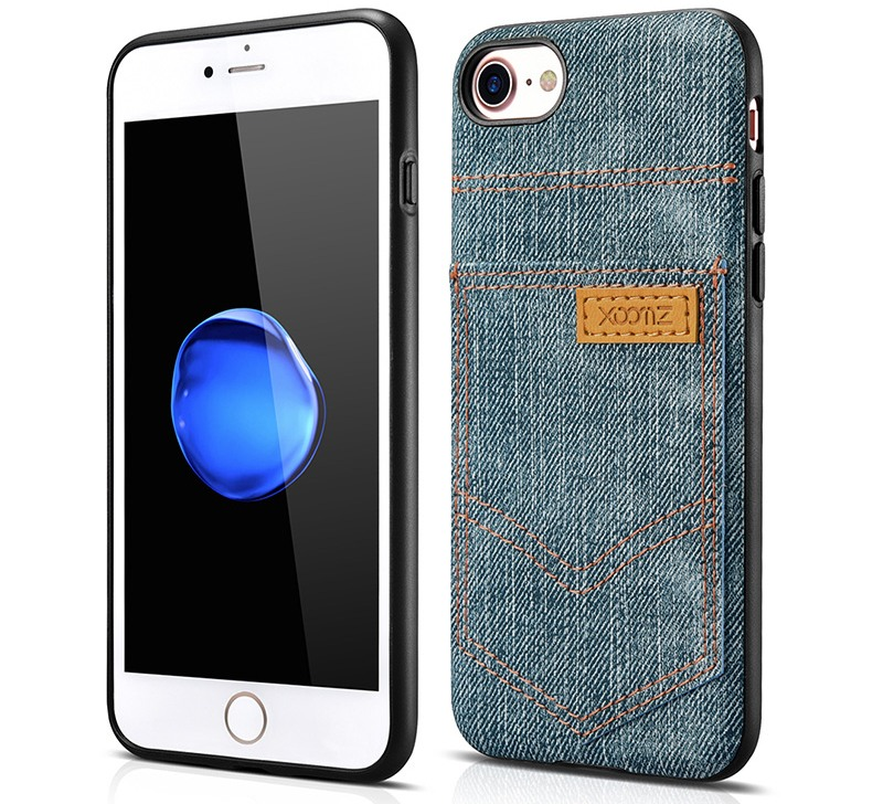 Husa slim din piele vegetala, cu locas pentru card, iPhone SE 2 (2020), iPhone 8, iPhone 7 - Xoomz by iCarer Jeans, Albastru verzui