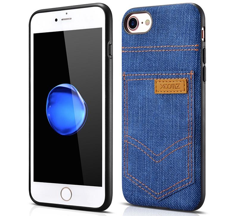 Husa slim din piele vegetala, cu locas pentru card, iPhone SE 2 (2020), iPhone 8, iPhone 7 - Xoomz by iCarer Jeans, Albastru