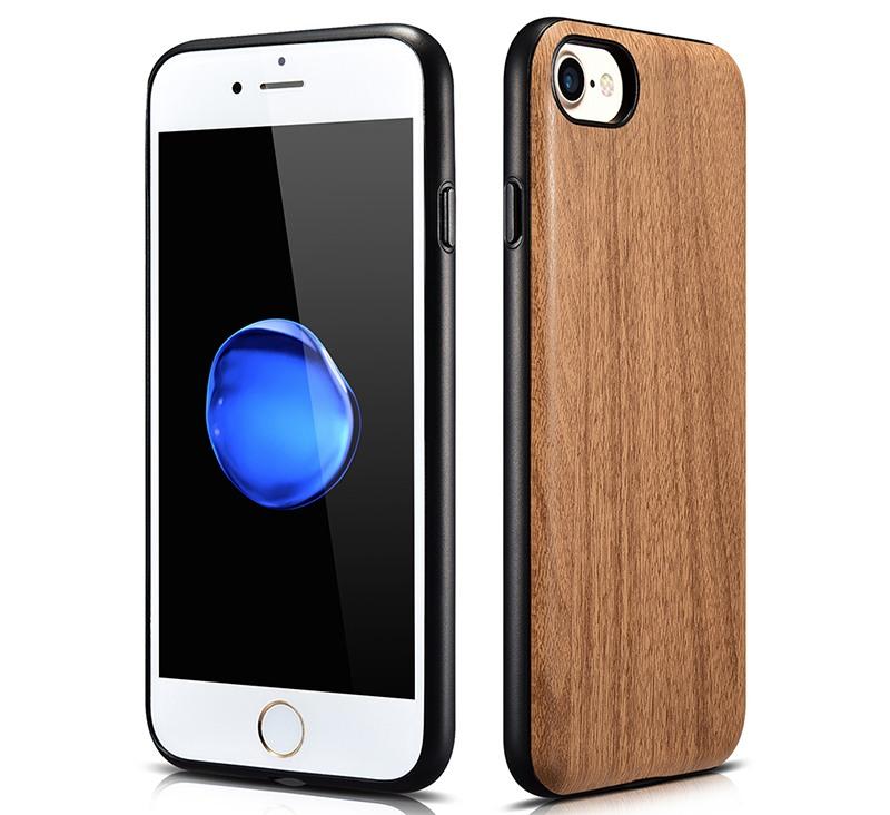 Husa slim piele cu aspect de lemn, iPhone SE 2 (2020), iPhone 8, iPhone 7 - Xoomz by iCarer Wood, Maro