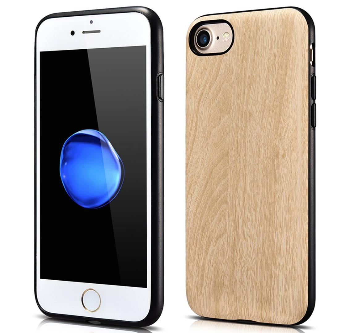 Husa slim piele cu aspect de lemn, iPhone SE 2 (2020), iPhone 8, iPhone 7 - Xoomz by iCarer Wood, Bej