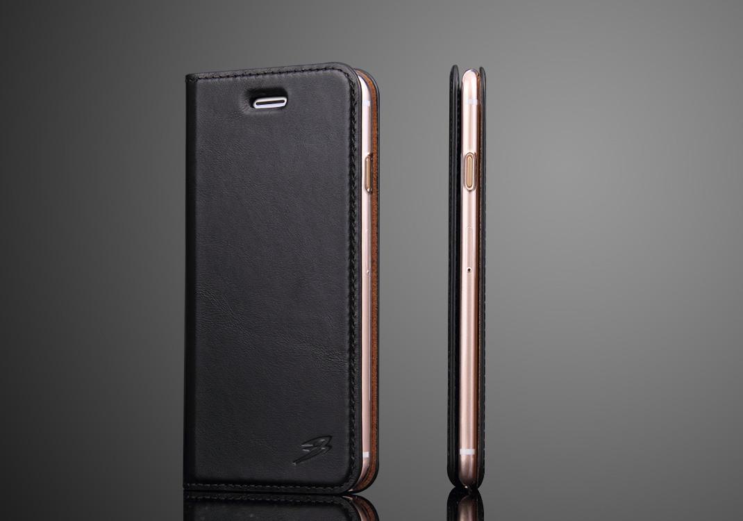 Husa slim din piele naturala, tip carte, iPhone 8 / iPhone 7, Negru