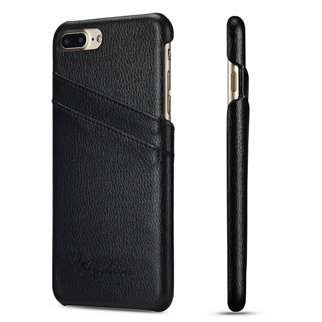 Husa slim din piele, iPhone 8 Plus / 7 Plus, cu buzunarase carduri, back cover - CaseMe, Negru