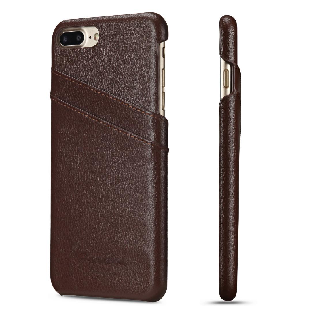 Husa slim din piele, iPhone 8 Plus / 7 Plus, cu buzunarase carduri, back cover - CaseMe, Maro