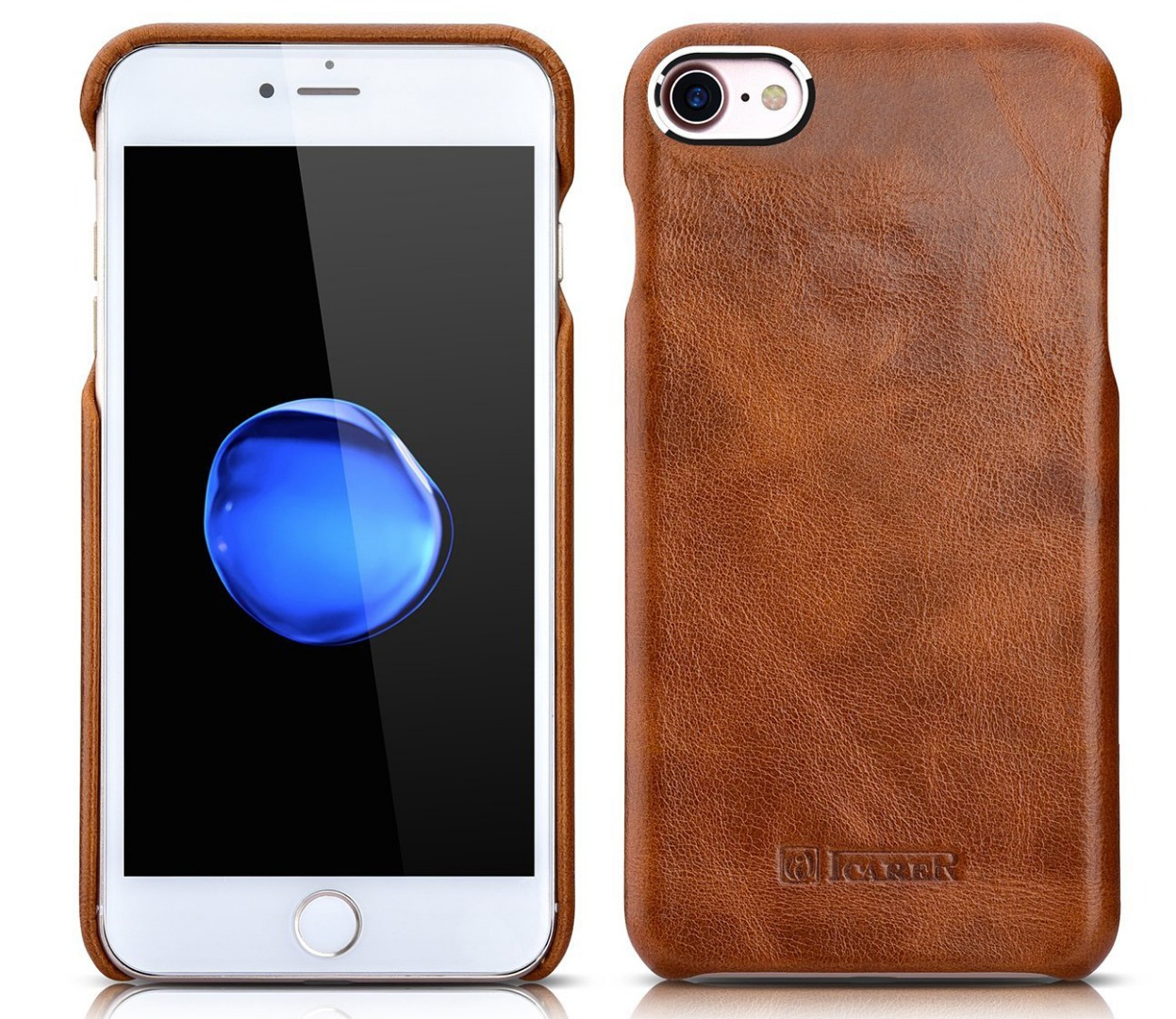 Husa din piele naturala, tip back cover, iPhone 8 / iPhone 7 / iPhone 6 / 6s - iCarer Vintage Oil Wax, Maro tabac