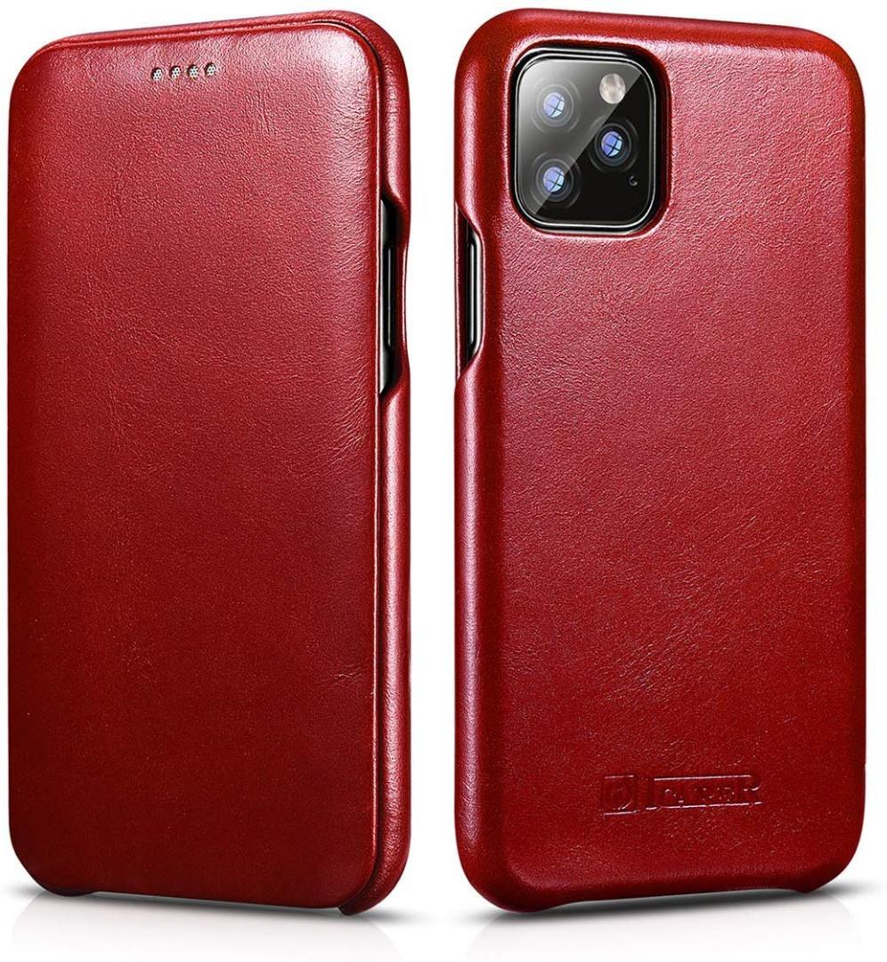 Husa din piele, tip carte cu clapeta curbata, iPhone 11 Pro Max - iCarer Vintage Curved, Rosu burgund