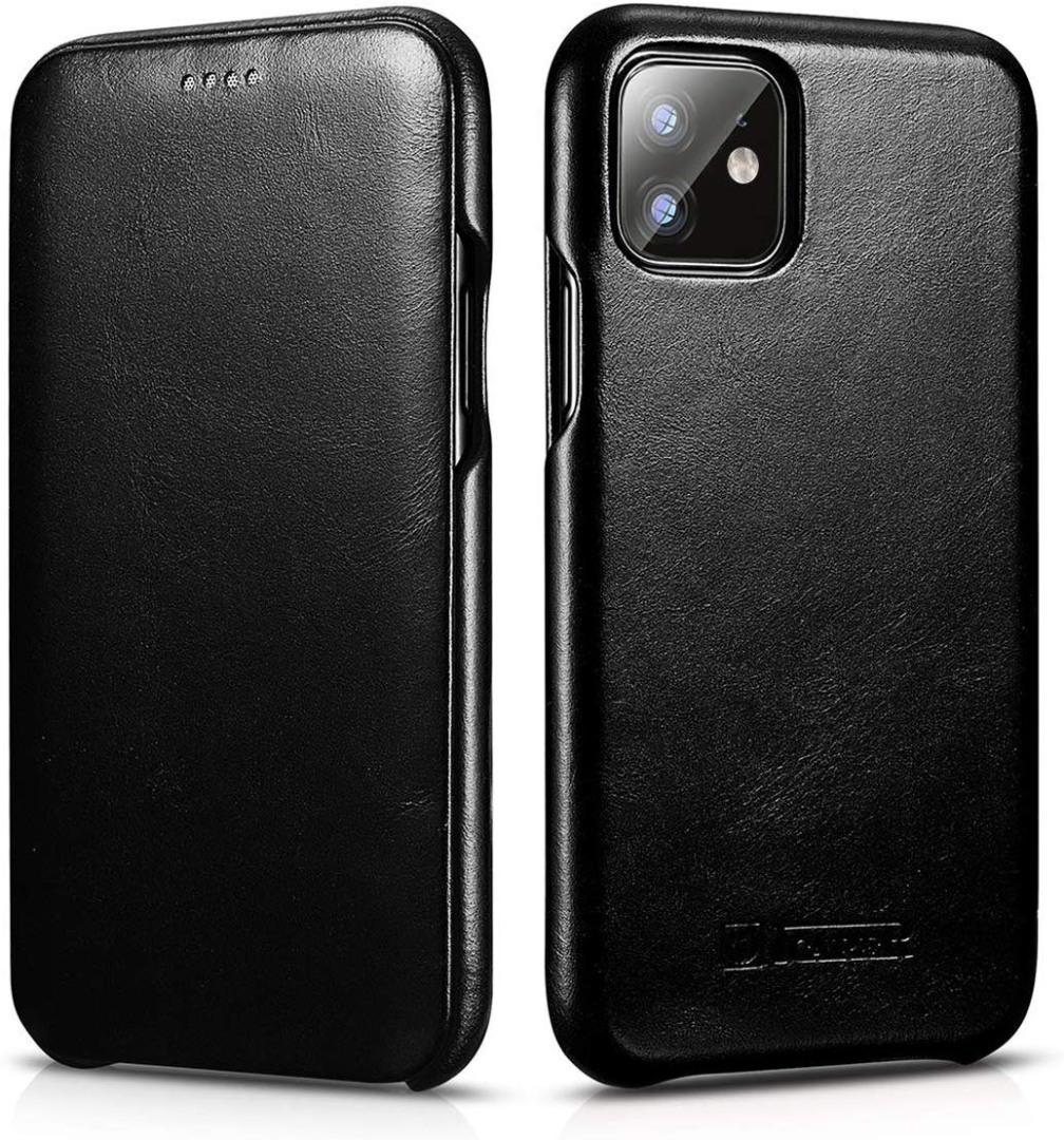 Husa din piele, tip carte cu clapeta curbata, iPhone 11 Pro Max - iCarer Vintage Curved, Negru