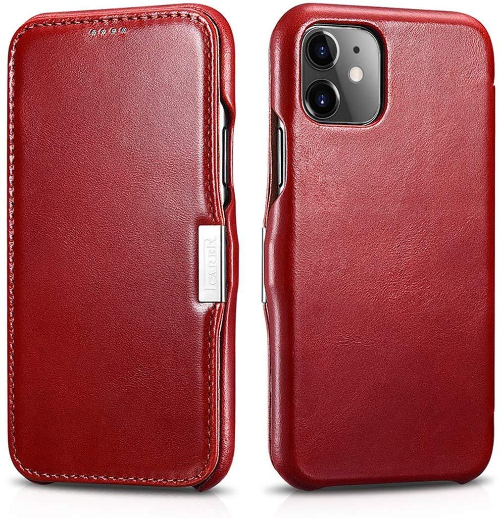 Husa piele naturala, tip carte, inchidere magnetica iPhone 11 - iCARER Vintage Side Open, Rosu burgund