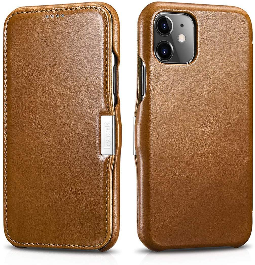 Husa piele naturala, tip carte, inchidere magnetica iPhone 11 - iCARER Vintage Side Open, Maro camel