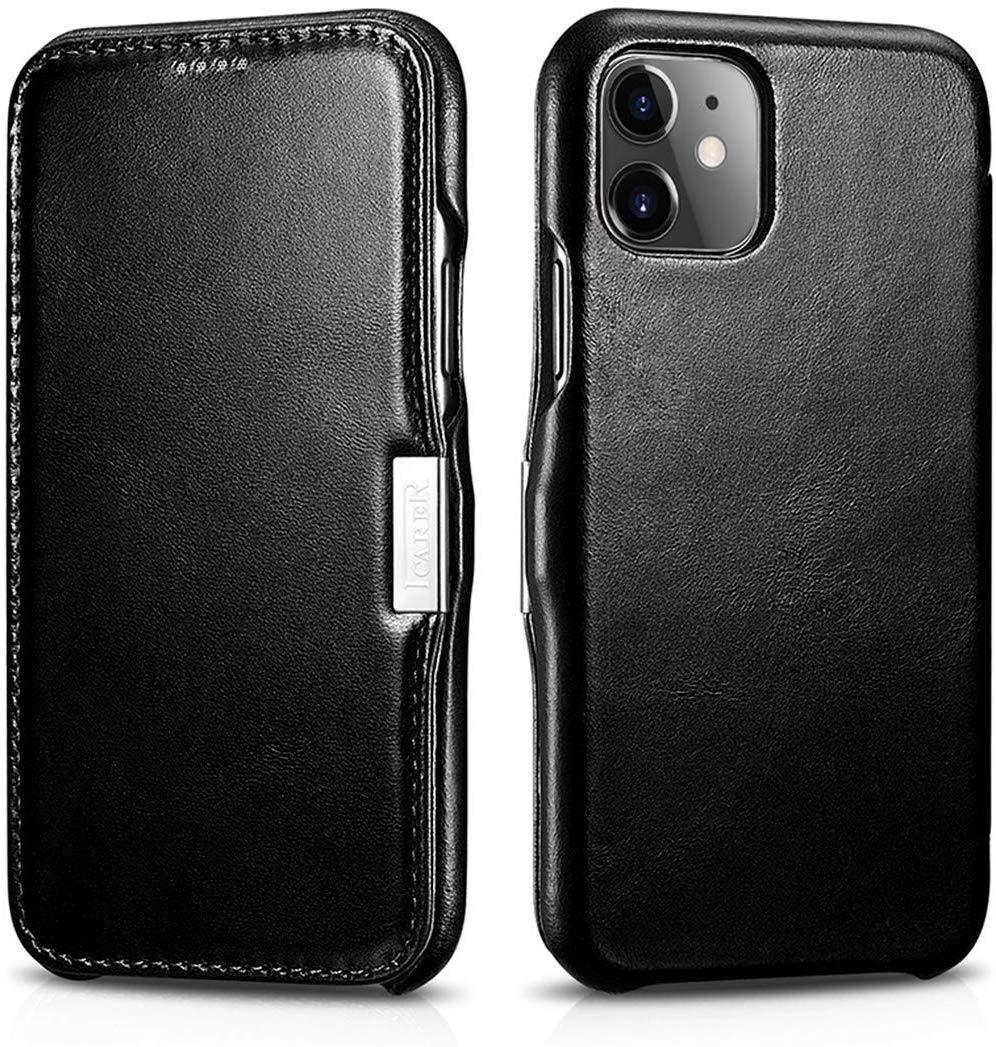 Husa piele naturala, tip carte, inchidere magnetica iPhone 11 - iCARER Vintage Side Open, Negru