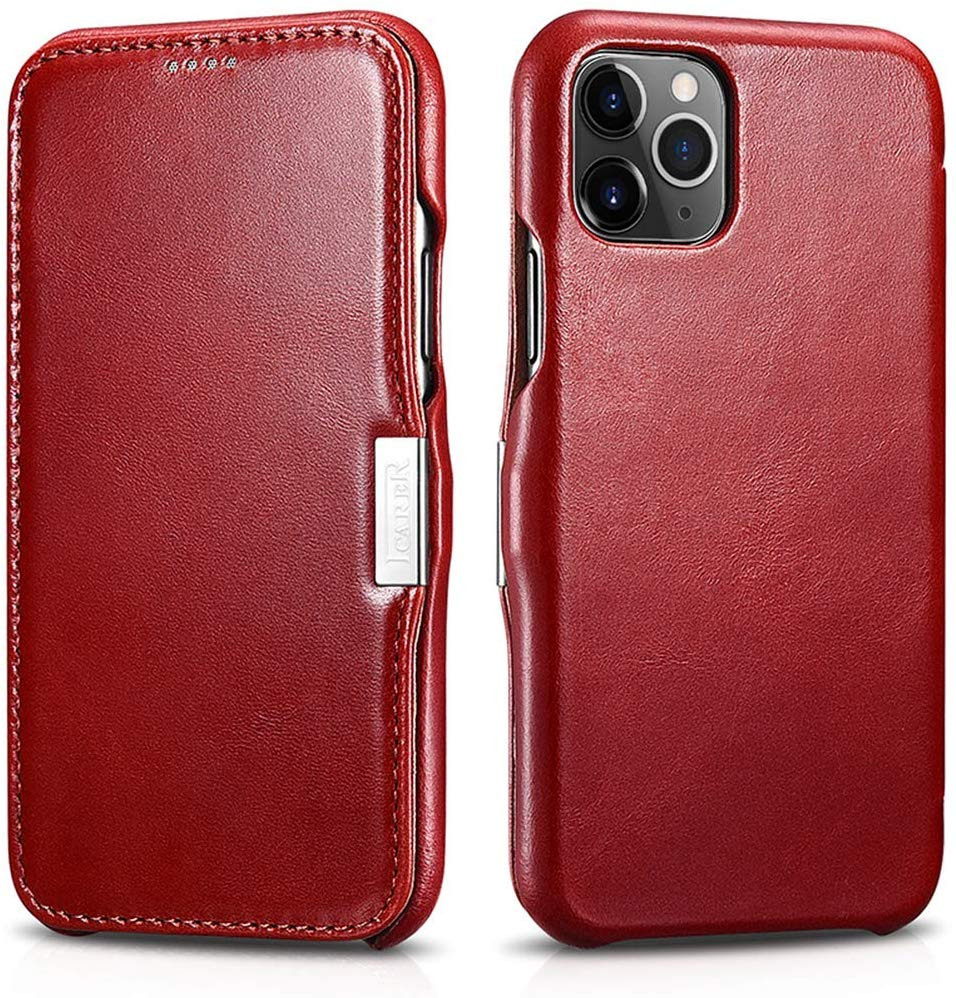 Husa piele naturala, tip carte, inchidere magnetica iPhone 11 Pro Max - iCARER Vintage Side Open, Rosu burgund