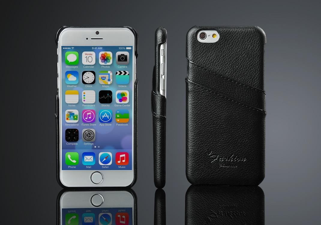 Husa slim din piele, tip back cover, cu buzunarase - iPhone 6 / 6s, Negru