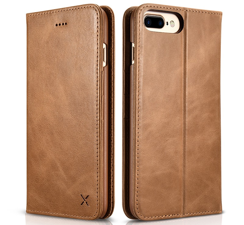 Husa din piele naturala, inchidere magnetica, tip carte, iPhone 8 Plus / 7 Plus - Xoomz by iCarer Wallet, Maro