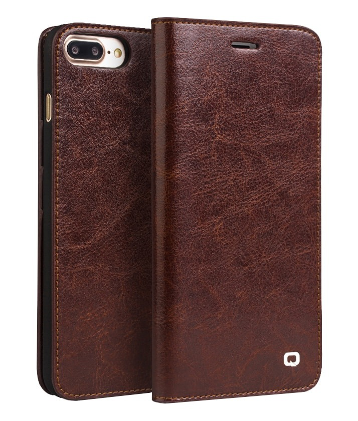 Husa piele fina naturala tip carte, portofel, iPhone 8 Plus / 7 Plus - Qialino Classic Wallet, Maro coffee