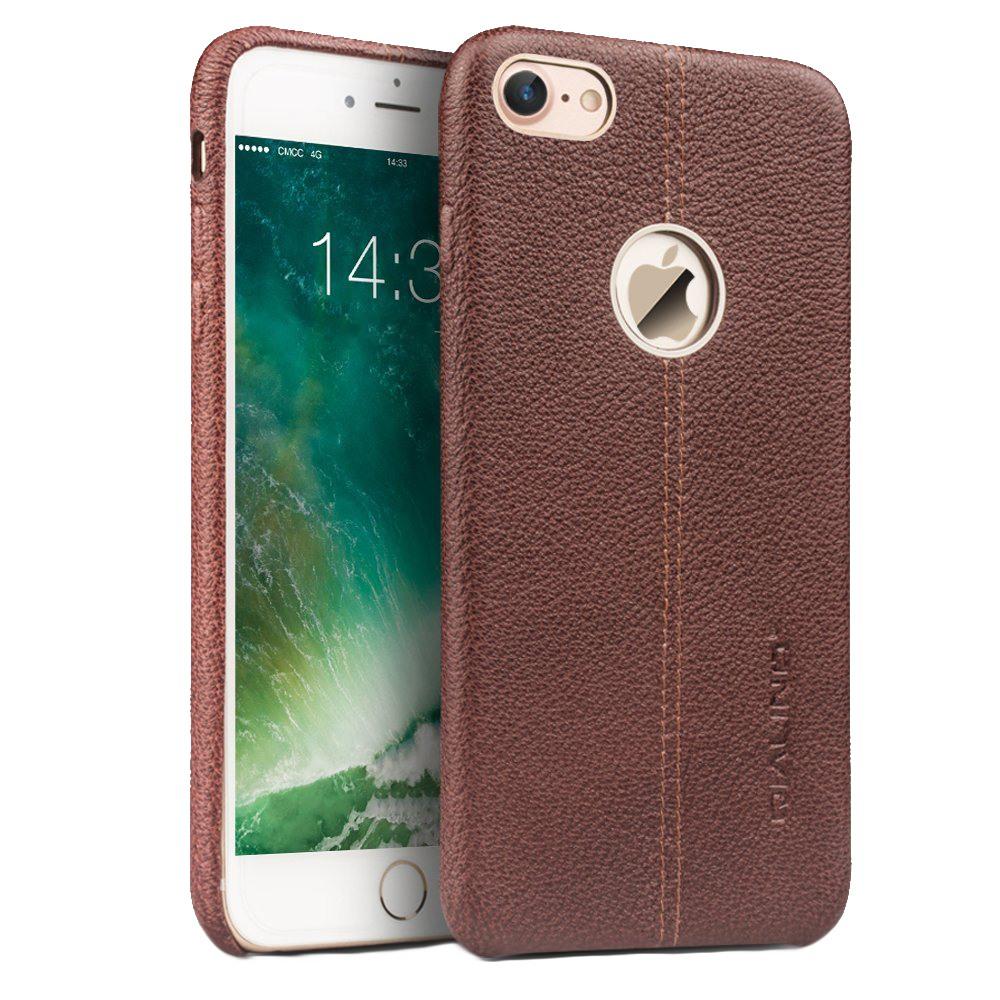 Husa slim din piele naturala, tip back cover, iPhone 7 - Qialino Litchi, Maro coffee