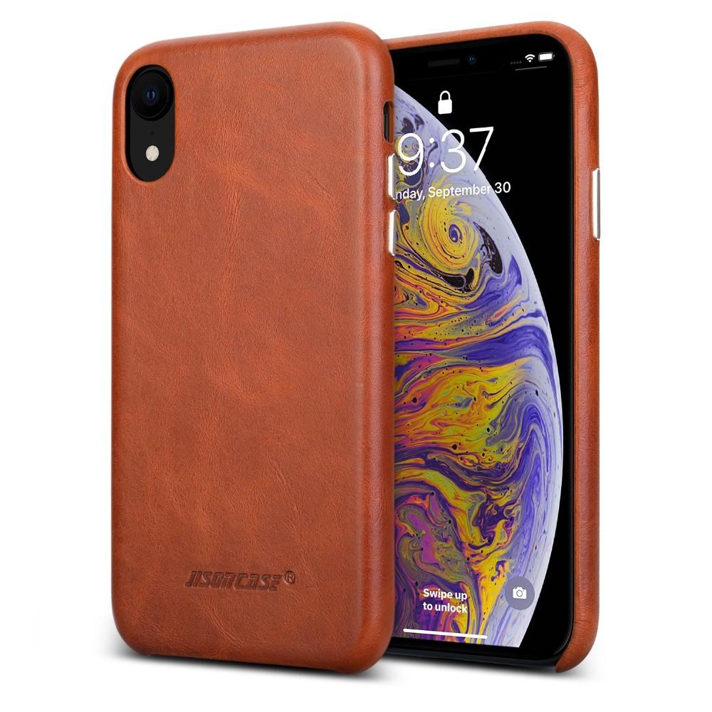 Husa slim din piele naturala, fara clapeta, iPhone XR - Jison Case Classic, Maro coniac