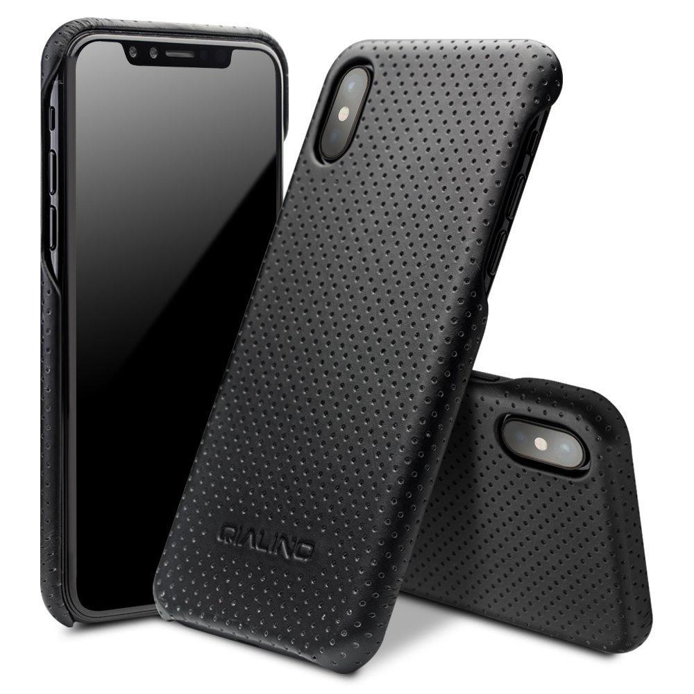 Husa din piele naturala perforata, tip back cover, iPhone X / XS - Qialino Limousine, Negru