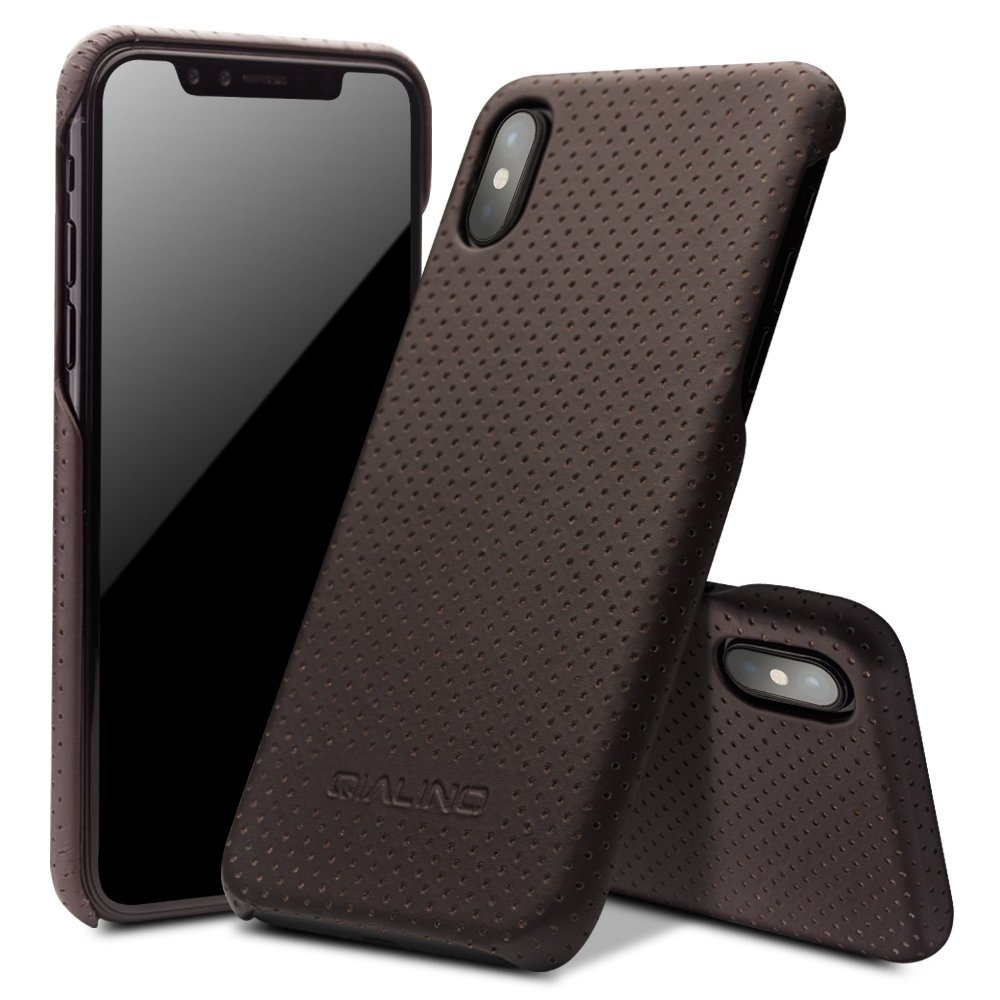 Husa din piele naturala perforata, tip back cover, iPhone X / XS - Qialino Limousine, Maro coffee
