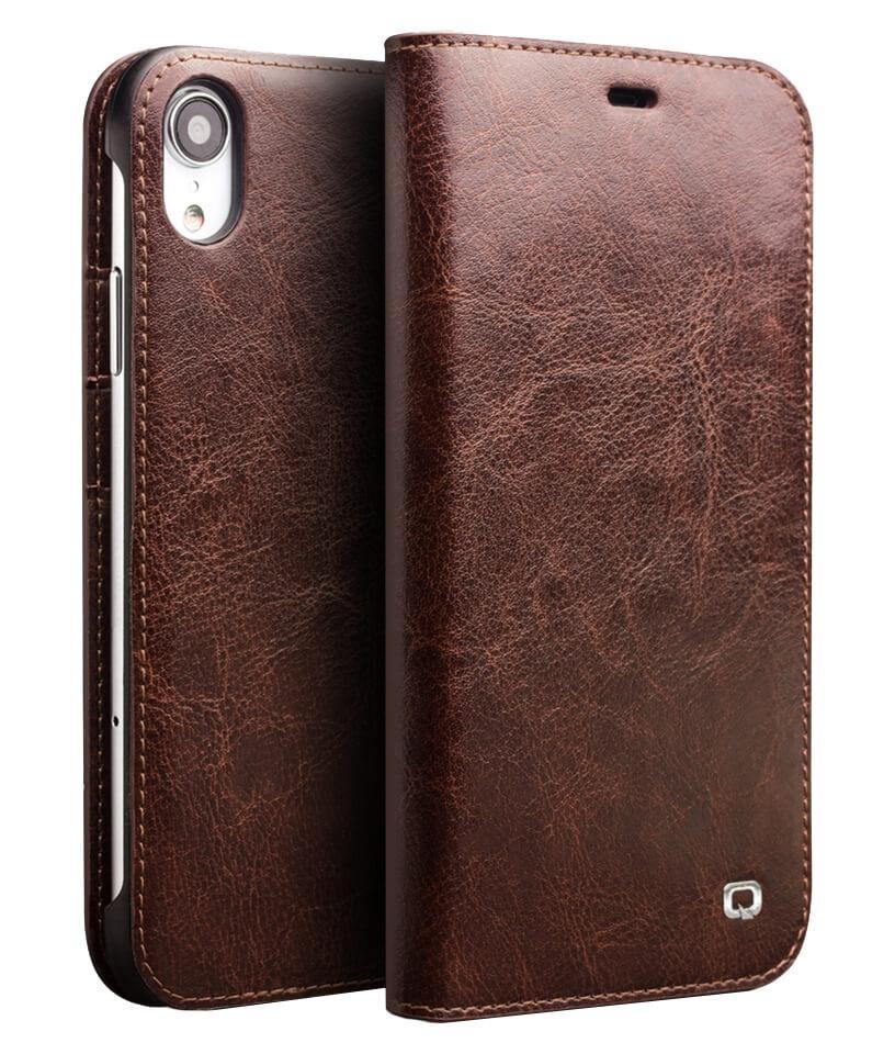 Husa din piele fina tip carte, cu buzunare carduri si bani, iPhone XR - Qialino Classic Wallet, Maro coffee