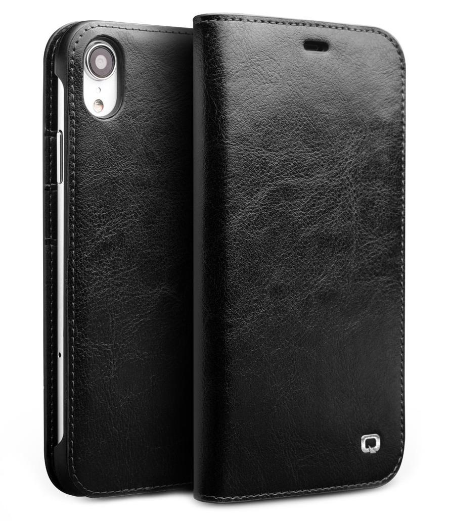 Husa din piele fina tip carte, cu buzunare carduri si bani, iPhone XR - Qialino Classic Wallet, Negru