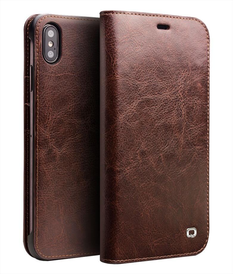 Husa din piele fina tip carte, cu buzunare carduri si bani, iPhone XS Max - Qialino Classic Wallet, Maro coffee