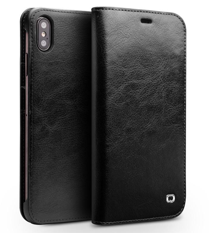 Husa din piele fina tip carte, cu buzunare carduri si bani, iPhone XS Max - Qialino Classic Wallet, Negru