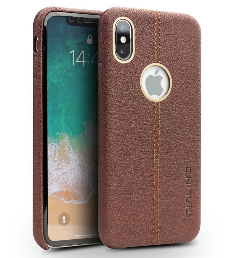 Husa slim din piele de bovina, tip back cover, iPhone X / XS - Qialino, Maro