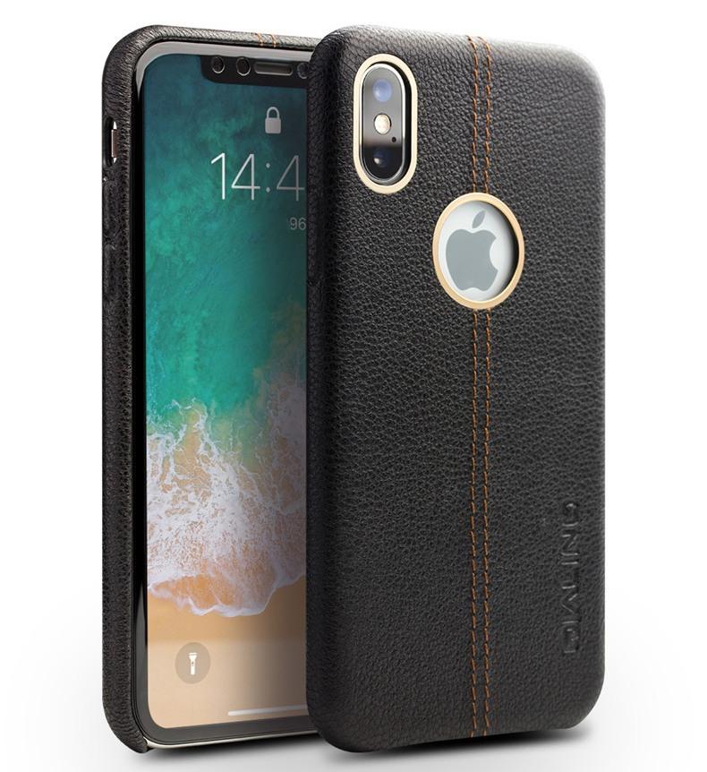 Husa slim din piele de bovina, tip back cover, iPhone X / XS - Qialino, Negru