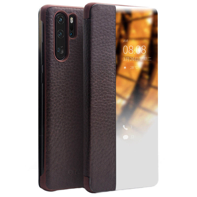 Husa slim din piele naturala, smart cover, Huawei P30 Pro - Qialino Smart Luxury, Maro coffee
