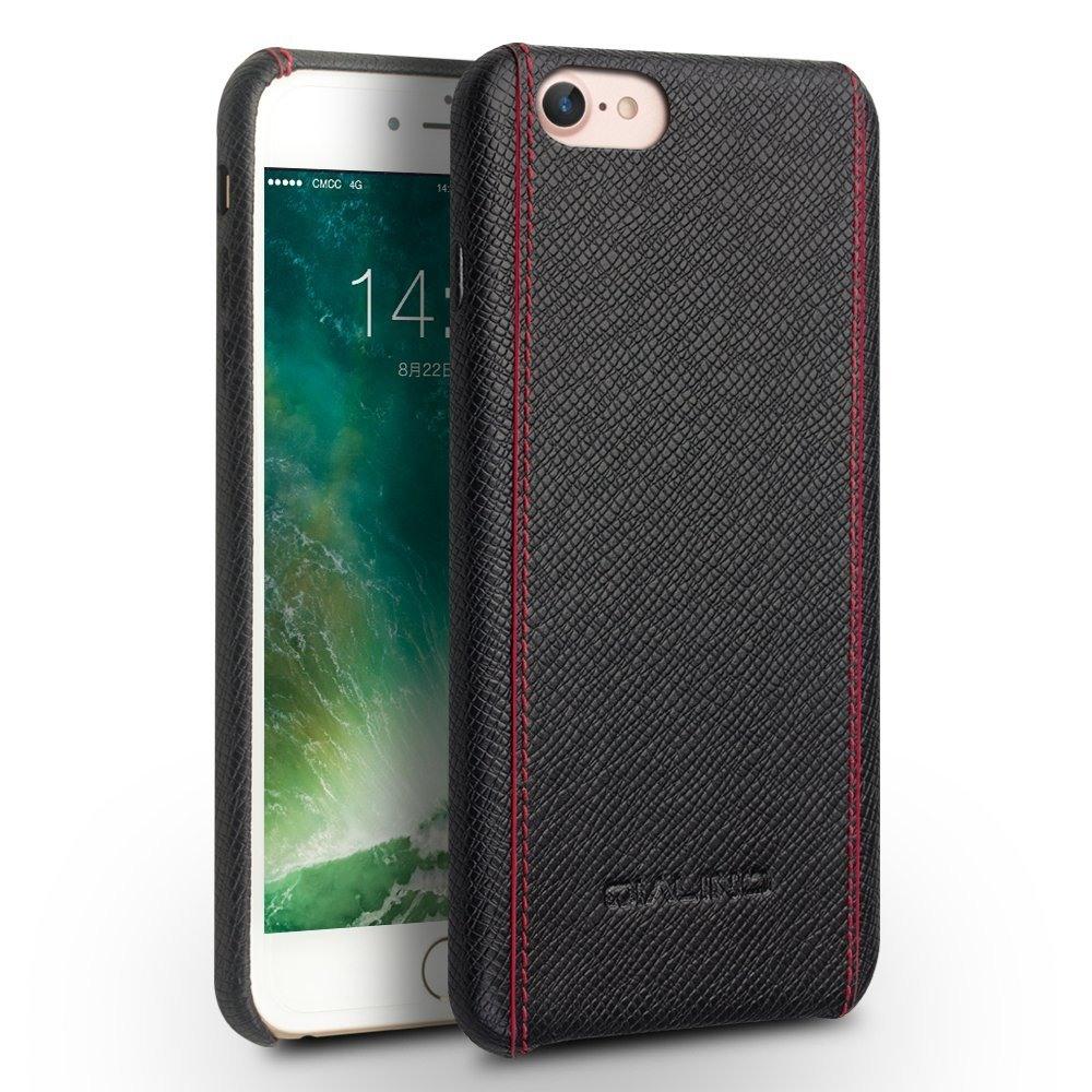 Husa slim piele naturala, cusatura rosie contrast, tip back cover, iPhone 8 / iPhone 7 - Qialino, Negru