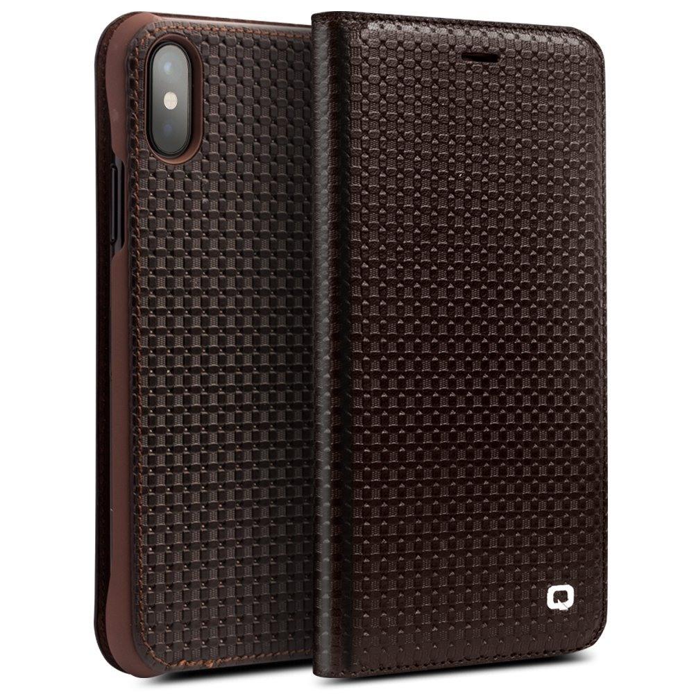 Husa slim din piele naturala, tip carte, iPhone X / XS - Qialino Grid Leather, Maro coffee