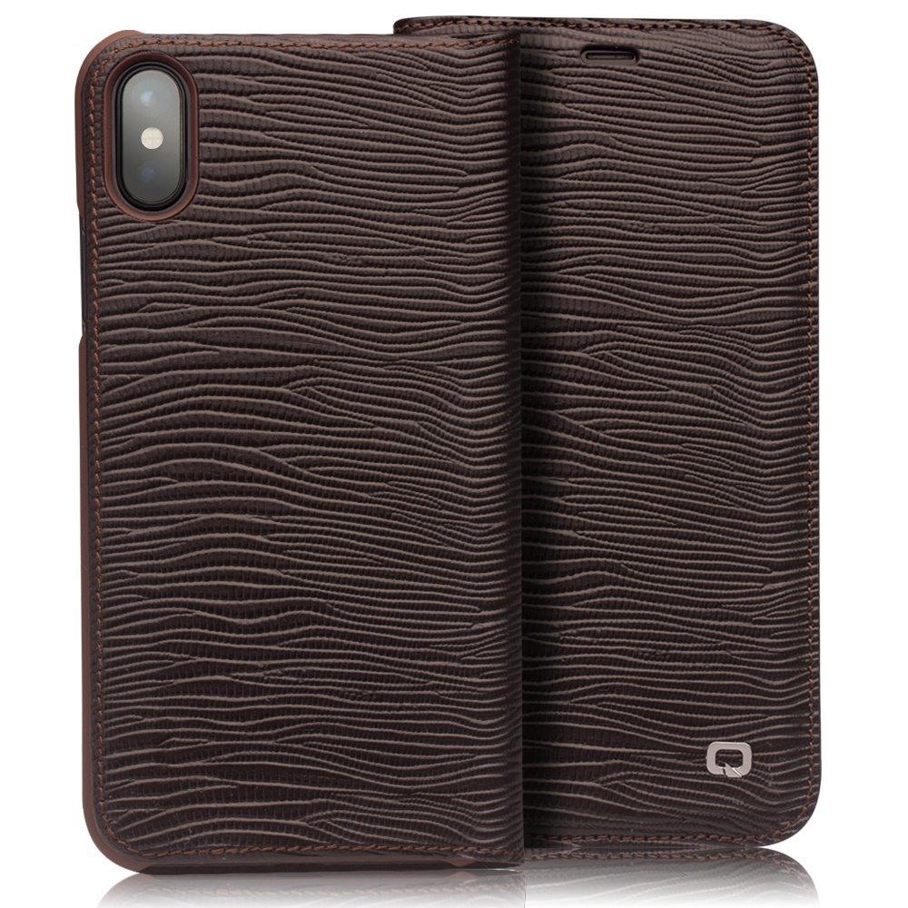 Husa slim din piele naturala, tip carte, iPhone X / XS - Qialino Lizard Leather, Maro coffee
