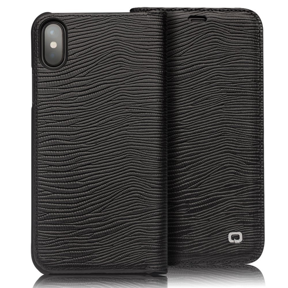 Husa slim din piele naturala, tip carte, iPhone X / XS - Qialino Lizard Leather, Negru