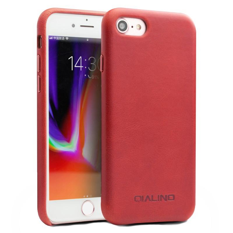 Husa slim din piele naturala de vitel, tip back cover, iPhone SE 2 (2020) / iPhone 8 / iPhone 7 - Qialino, Rosu