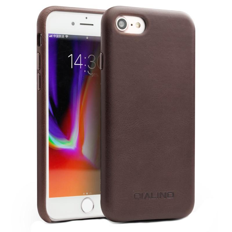Husa slim din piele naturala de vitel, tip back cover, iPhone SE 2 (2020) / iPhone 8 / iPhone 7 - Qialino, Maro coffee