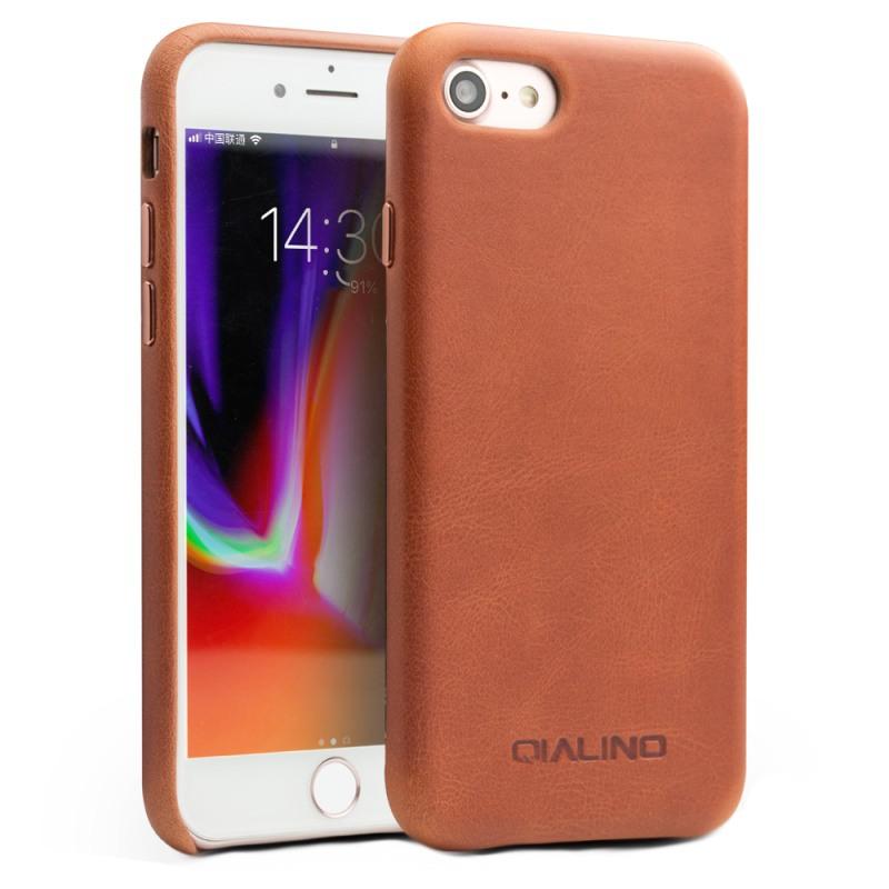 Husa slim din piele naturala de vitel, tip back cover, iPhone SE 2 (2020) / iPhone 8 / iPhone 7 / iPhone 6 / 6s - Qialino, Maro tabac