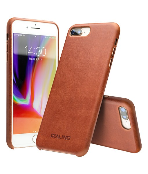 Husa slim piele naturala de vitel, tip back cover, iPhone 8 Plus / 7 Plus - Qialino, Maro tabac