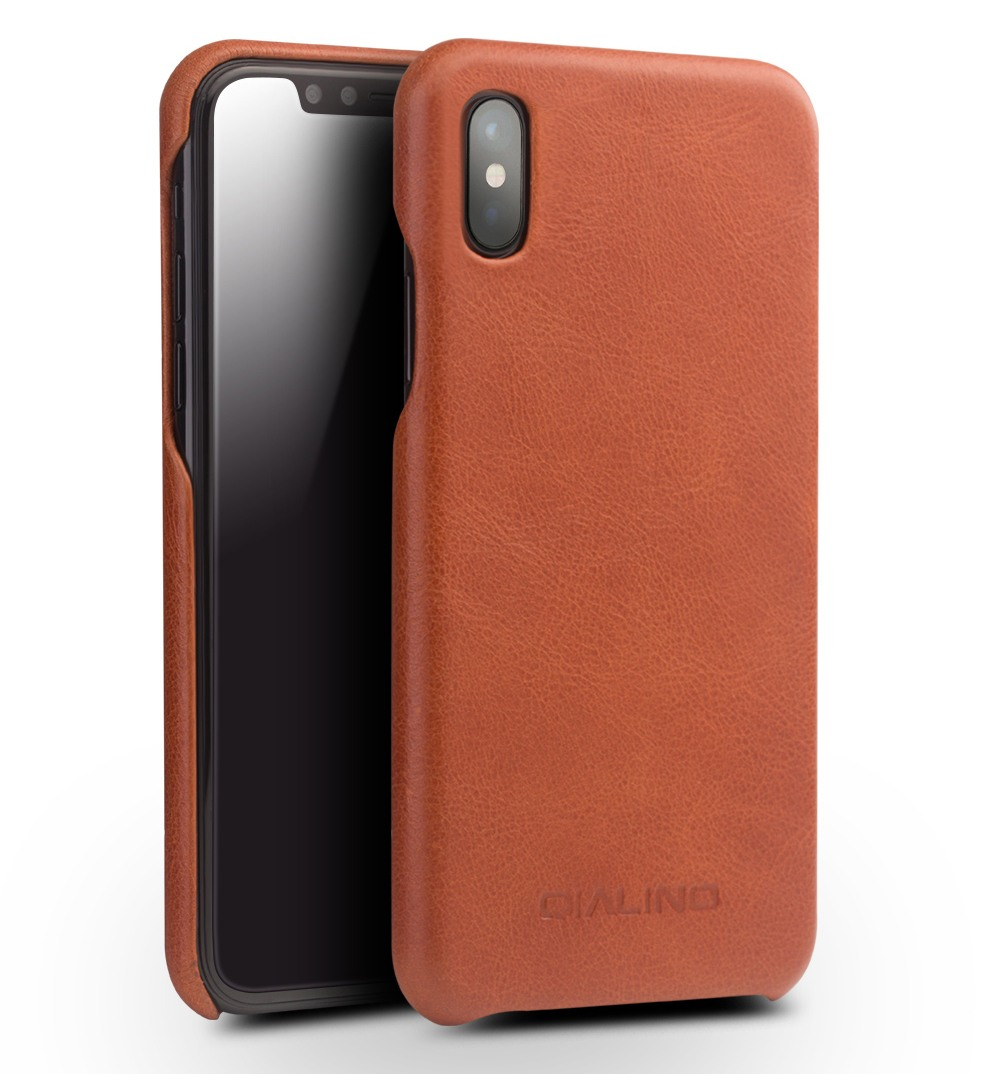 Husa slim din piele de vitel, tip back cover, iPhone X / XS - Qialino Classic, Maro tabac