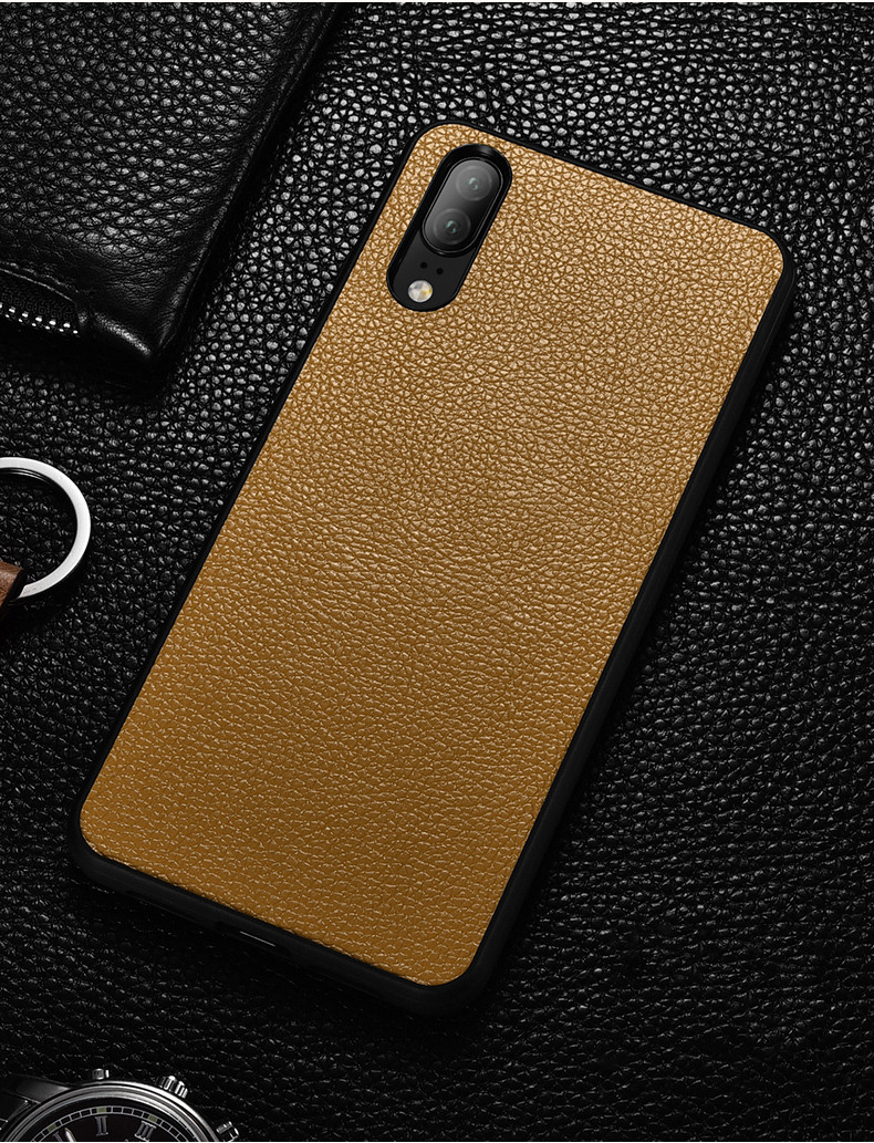 Husa slim din piele naturala, back cover, Huawei P20 Pro - Xoomz by iCarer, Maro