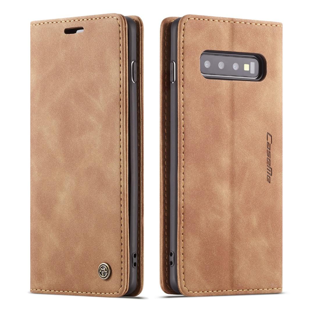 Husa slim piele, tip portofel, stand, inchidere magnetica, textura catifelata, Samsung Galaxy S10 Plus - CaseMe, Maro