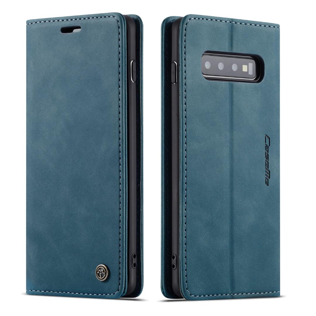Husa slim piele, tip portofel, stand, inchidere magnetica, textura catifelata, Samsung Galaxy S10 - CaseMe, Albastru