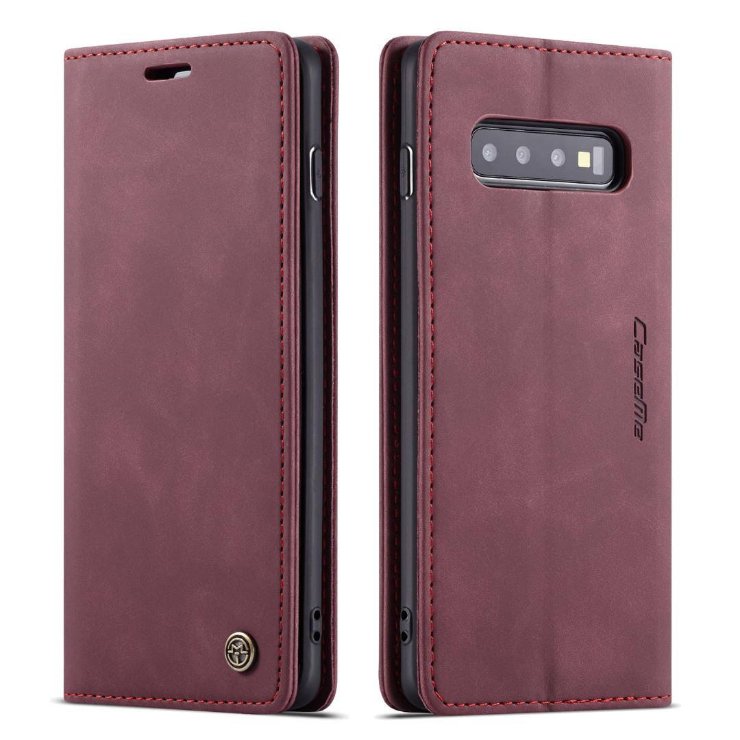 Husa slim piele, tip portofel, stand, inchidere magnetica, textura catifelata, Samsung Galaxy S10 - CaseMe, Visiniu