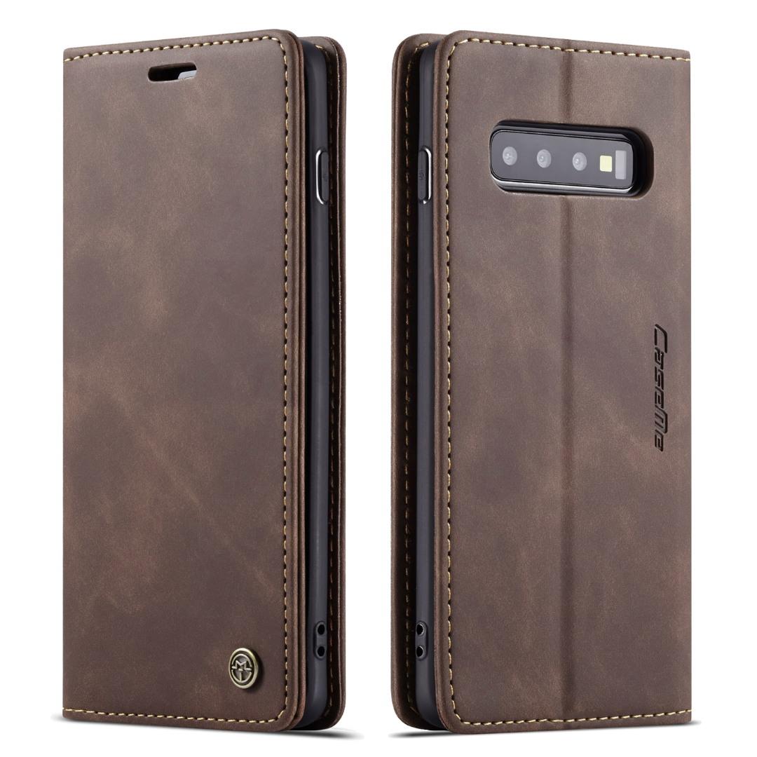 Husa slim piele, tip portofel, stand, inchidere magnetica, textura catifelata, Samsung Galaxy S10 Plus - CaseMe, Maro coffee