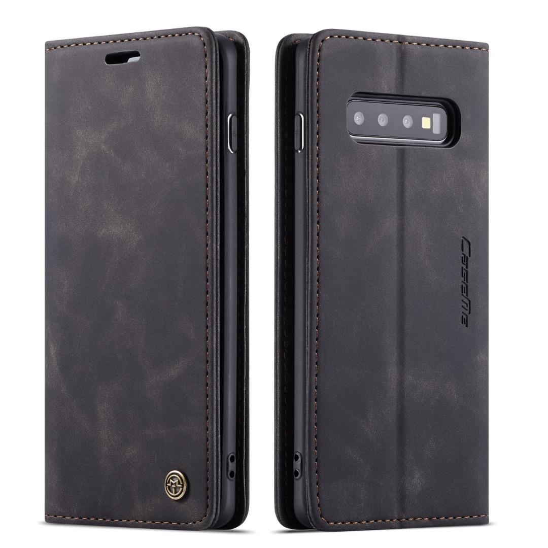 Husa slim piele, tip portofel, stand, inchidere magnetica, textura catifelata, Samsung Galaxy S10 Plus - CaseMe, Negru